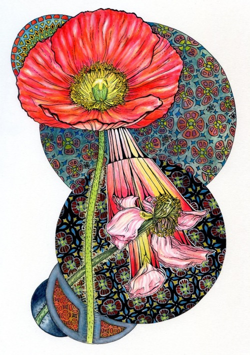 eatsleepdraw:  RIP Poppy by Noel Badges Pugh ink, watercolor, & colored pencil tumblr: http://noelbadgespugh.tumblr.com/