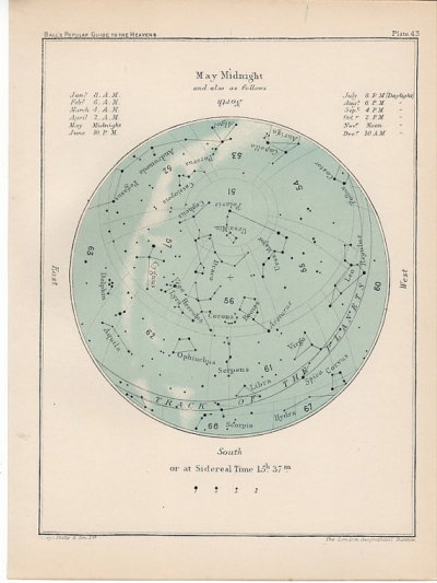 foxontherun:  (via 1910 may month rare celestial star map by antiqueprintstore)