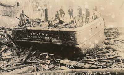 zerolabarre:  The schooner ADVENT is seen after being wrecked on the bar 16 Feb. 1913. The wind failed as she attempted to cross the Coos Bay bar. Grounding on the spit, no tug in the area was powerful enough to get her free and the above was the result after the eight man crew was removed. 431 G.t./399 N.t., 151.5' x 35' x 12.6' SchoonerBlt. 1901, Northbend, OR., by and for Simpson Lumber Co. Wrecked on Coos Bay Bar16 Feb. 1913All hands saved. Original photo from the archives of Saltwater People Historical Society. Reblogged with permission. Go check out their website, it is packed with maritime history gems.