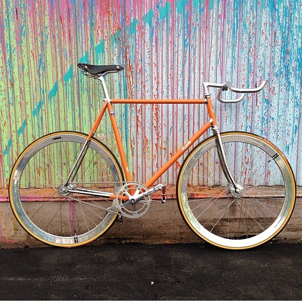 superbbicycle:  @shoot2be moltini orange superb vivace to high polished silver. #doingitright #superbvivace #superbbicycle #moltini #h+son #nitto #brooksengland #bikeporn #bikeshop #trackbike #fixedgear #cycling #brakeless #classicbicyclebuild
