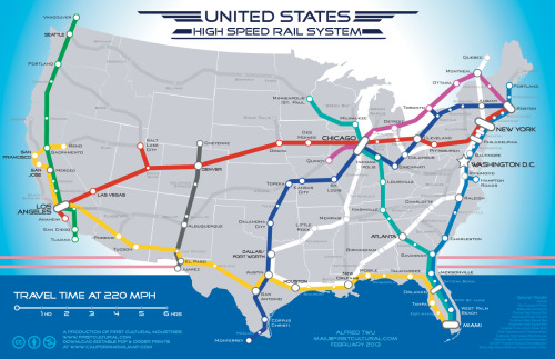 "courtenaybird:  A Beautiful Vision Of An American High-Speed Rail Map  Imagine if the country was linked by a network of 220-mile-per-hour trains.  Want now. But, as they note, ""Given the difficulties in building just a tiny part of this system (the chunk of the Yellow Line from L.A. to San Francisco), we're so amazingly far away from this happening."""