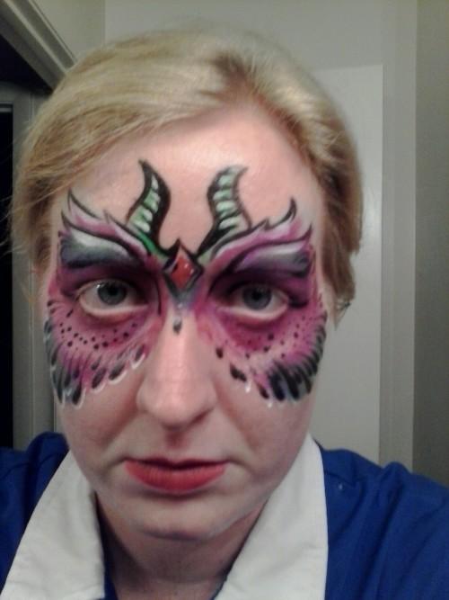 jljonesart:  Dragon Mask Kryolan cake makeup, Mehron Liquid Makeup; Brush, 2014 All Face Painting Designs Property of Enjoy Your Face Inc.