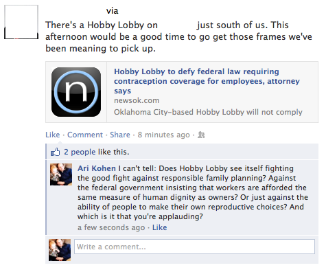 "If you read any of the news about Hobby Lobby and its fight against (some forms of) contraception, you won't be able to avoid being stunned by the complete and utter nonsense of the claims that are being made by the company's owners. They don't object to including contraception in their health plan, but they object to including the morning-after pill (which is generally understood to be emergency contraception but which they have decided for themselves is actually an abortion-inducing drug):   ""All they're asking for is a narrow exemption from the law that says they don't have to provide drugs they believe cause abortions,"" Hobby Lobby attorney Kyle Duncan, a general counsel for the Becket Fund for Religious Liberty, told CNN affiliate KFOR in November. ""Our basic point is the government can't put a corporation in the position of choosing between its faith and following the law.""   The Supreme Court has rejected their request for an injunction while their lawsuit is pending, as they're seeking a religious exemption but are not a religious organization. And so they say they're prepared to pay fines of more than a million dollars a day after January 1 as they await the results of their lawsuit. Here's a handy chart with the stark differences between an emergency contraception pill and an abortion-inducing pill. The bottom line is this: If you own a company and don't understand how women's bodies work, you might end up having to pay a million dollars a day to remain faithful to your understanding of what contraception means."