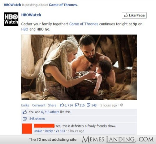 memeslanding:  Gather the family together for Game of Thrones! http://bit.ly/ZwyYxC