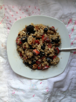 talentforliving:  Irish steel cut oats with strawberries blueberries blackberries chia seeds sunflower seeds sesame seeds all spice cinnamon pecans and dark agave syrup