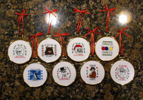 Christmas ornaments for family members. From Steotch. Made winter 2012.
