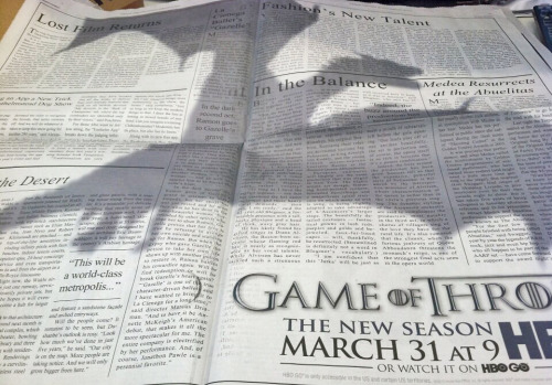 danhacker:  'Game Of Thrones' Ad In The New York Times Now that's effective advertising, people.   Clever girl