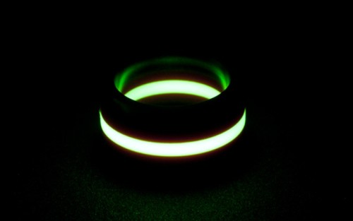 sammneiland:  thewavespectra:  Isotope Titanium Lume Ring The Isotope is all about contrast. The brilliant glow of the lume, and the sharp lines of the titanium create a visual moment that refuses to be ignored. The special lume material in the Isotope ring soaks up both natural and artificial light and will glow bright green as soon as it is in a low-light environment. Wear it to bed and it will still be glowing when you get up for that 3am visit to the bathroom! Moonglow Material: Moonglow is a ultra-high output photoluminesent polycarbonate. It soaks up both natural and artificial light and will glow bright green for hours once it is in a low-light environment. It also a passive-lume material, meaning it absorbs light. It does not generate its own light as radioactive materials such as tritium do. https://www.touchofmodern.com/sales/black-badger—3/isotope-titanium-lume-ring  DOMINIC CAN THESE BE OUR WEDDING RINGS