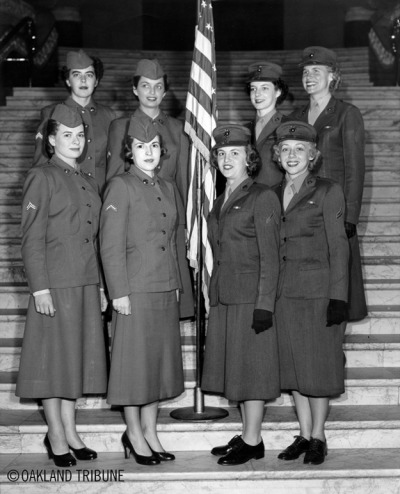 "WOMEN'S HISTORY MONTH Women's Army Corps San Francisco, CA November 9, 1953 - Members of the Sixth Army Women's Army Corps drill team. Front row from left: WAC Corporal June Meacher, WAC Private first class Nancy Huellmantel, Marine Pfc. Beverley Hoiby and Marine Cpl. Pat Thorley. Row row from left: WAC Cpl. Iva Sherrard, WAC Pfc. Pat Cox, Marine staff sergeant Barbara Lee and Marine Sergeant Margaret Maul.  (Photo by Albert ""Kayo"" Harris / Oakland Tribune Staff Archives) For the general history of the WAAC and WAC please visit, http://www.armywomen.org/wacHistory.shtml"