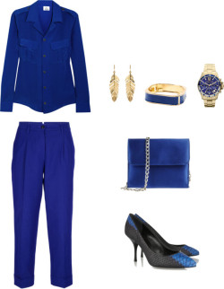 i'd work this: feelin' blue on blue  Iris & Ink silk shirt / Forte Forte / Giuseppe Zanotti leather pumps/ Fiorangelo shoulder bag / Amrita Singh square bracelet / Michael Kors / Amrita Singh yellow gold earrings  me