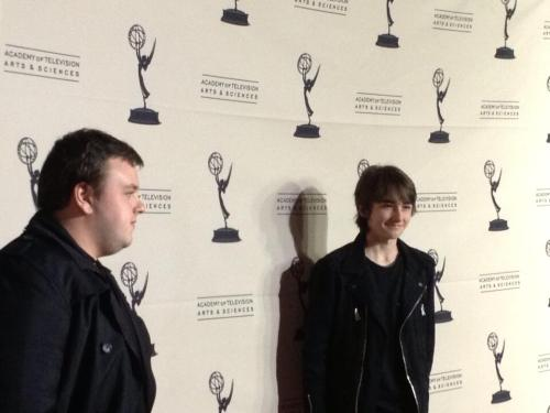 John Bradley and Isaac Hempstead Wright arrive for the Emmy panel.