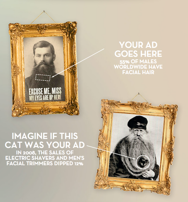 helloyoucreatives:  Beardvertising pays men with beards US$5.00 a day to place a small ad in their beards. Advertising on your body - agency created Beardvertising when they realized that beards were untapped media space that consumers interacted with every day.