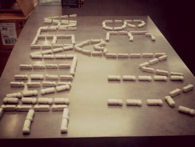 Spelled out with sensors, this is how bored I was at work today