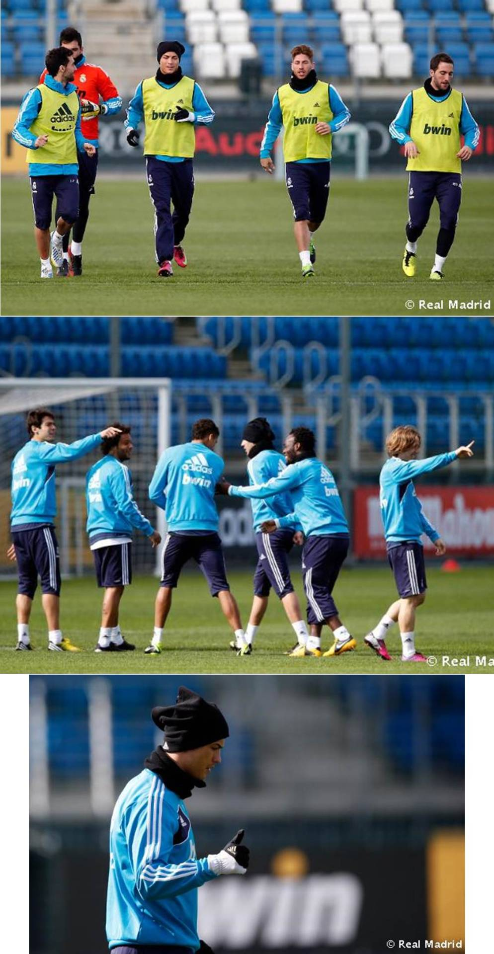 Training 09.03.2013: Cristiano and Ramos are back on the pitch.