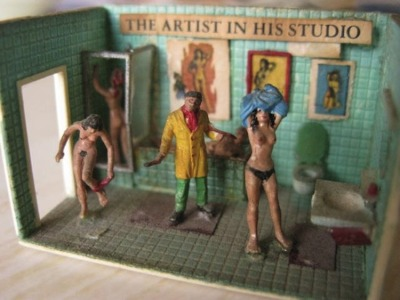 homemade miniature studio for model train set, approx. 1980  [via]