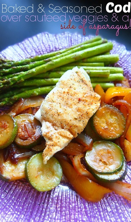 Baked Seasoned Cod With Vegetables Paleo, Low carb, Low calorie, Diet