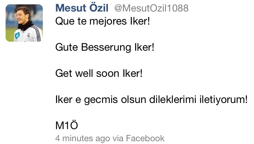 oneikercasillas:  Mesut Ozil's get well wishes for Iker Casillas