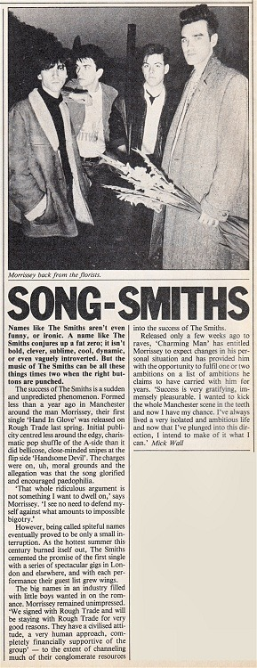 Short, early article about The Smiths, from Time Out, 8-14 December, 1983.