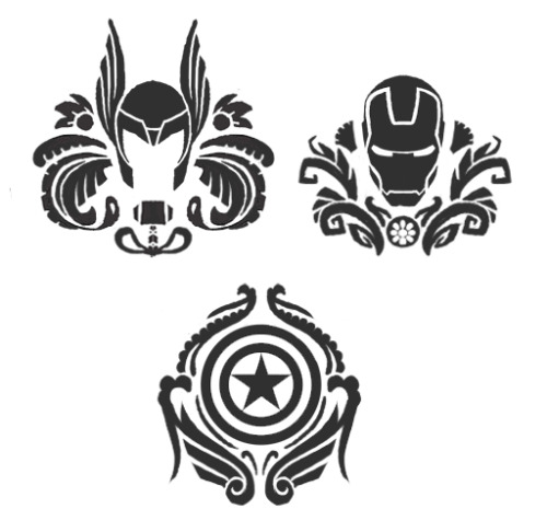 nooby-banana:  More progress on my Avengers shirt designs! As always, input and critique are appreciated. I got so much good input on my last post, thanks so much!  I ended up doing a punching fist for the Hulk. Now I'm just making the damask patterns around them.  auuuuuugh!! i love the cap one so far!! X)