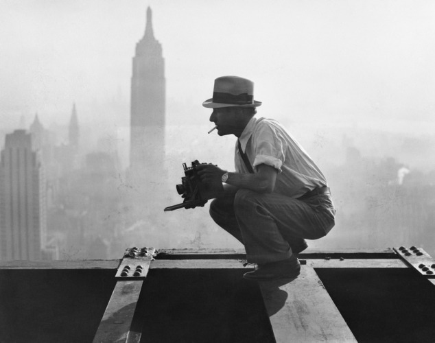 "brentlavett:  Charles Ebbets shooting his famous ""Lunch atop a Skyscraper"" shot on the 69th floor of the GE Building, 1932  Brilliant"