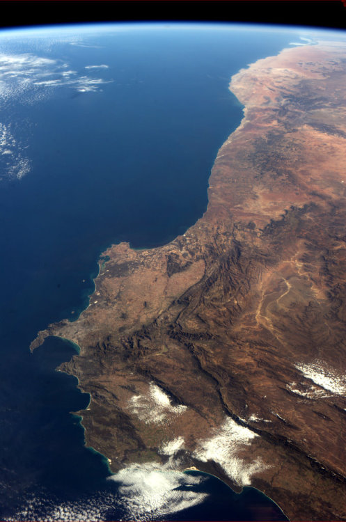 The southwest corner of Africa, from space.