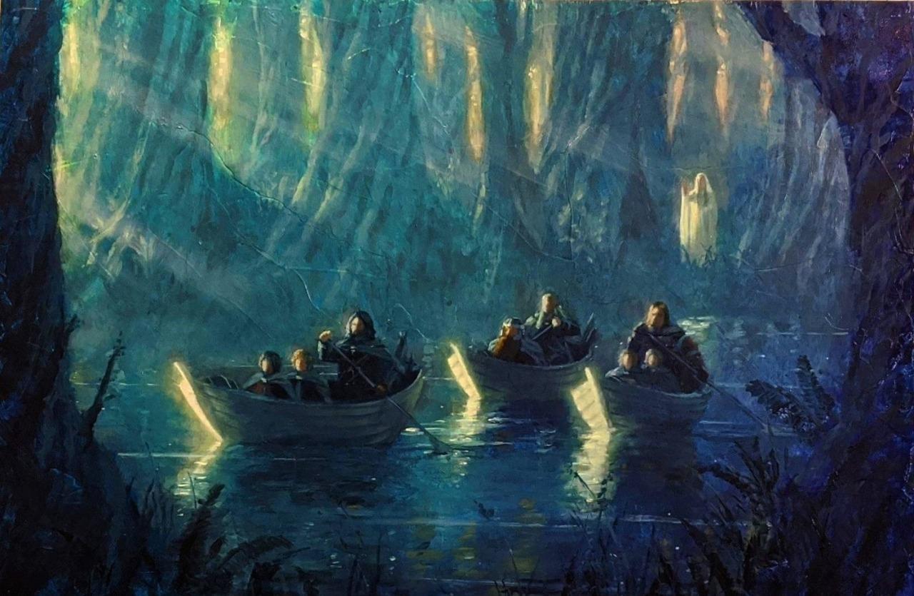 LeavingLothlórien by  Christopher Clark #LOTR#Tolkien#Lothlorien#Galadriel#Anduin#Fellowship#Christopher Clark