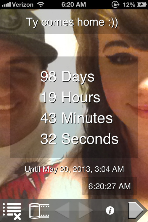 Everyday gets closer,and closer.Cannot wait until he's finally home..98 days left!