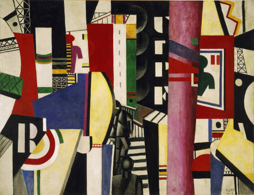 bruvu:  La ville - The City Fernand Léger, 1919  Oil on canvas. 7 feet 7 inches x 9 feet (231.1 x 298.4 cm) via A-r-t-history      The clash, overlap, and rapid jumps among the shapes and colors borrow from the cinematic techniques of quickly cutting between scenes, and the inclusiveness of the composition resembles the panoramic sweep of a movie camera. This is not so much a particular city represented as the essence of the urban center as a site of overwhelming simultaneous impressions. John B. Ravenal - Philadelphia Museum of Art      Image: About.com Art History #city