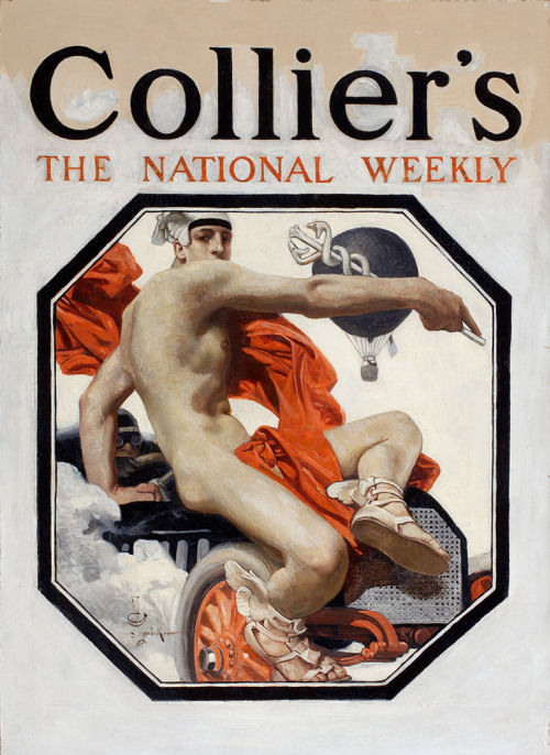 "Joseph Christian Leyendecker, The Speed God Mercury, Collier's Cover, January 19, 1907, Original Painting Oil on canvas. One of the most successful commercial illustrators of his time, best known for his advertisements for the ""Arrow Collar Man."" He created 321 covers for the Saturday Evening Post."