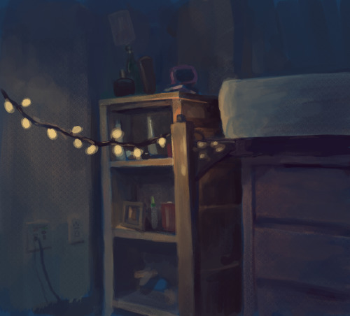 My friend Camille has these awesome christmas lights in her room, and I wanted to draw them. I tried to push the values and make the colors more fantastical.