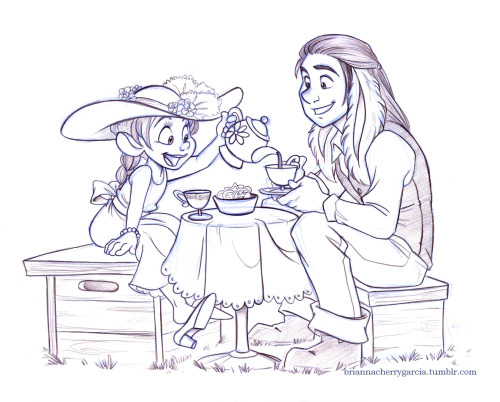 briannacherrygarcia:  Amalthea has a tea party with her Papa. I think of Thea being more of a tomboy, growing up with two dads and three brothers, but every little girl goes through a 'girly' phase. Her hat was made by Uncle Tarrant and she borrowed the shoes from Auntie Alice. And since it was a fancy tea party, she asked her Papa to dress nice. Pencil sketch  I'm so coloring this… When I can muster up the motivation for it!