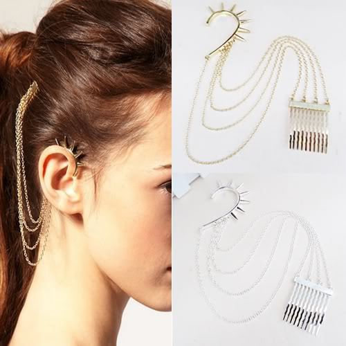 Chainlinked + Spiked Ear Cuff and Hair Comb - 2.59