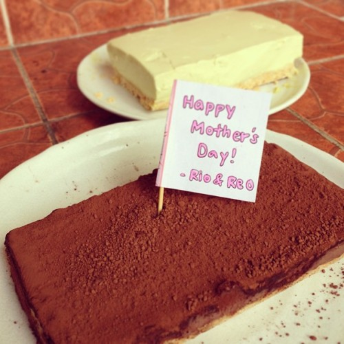 """Happy Mother's Day!"" - My daughter made 2 kinds of cake; Nama-choco tart & avocado cheese cake!! (at my lovely dining room)"