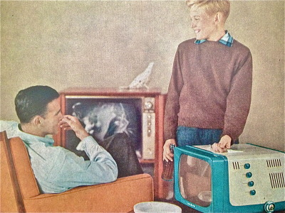 hollyhocksandtulips:  General Electric portable television, 1956