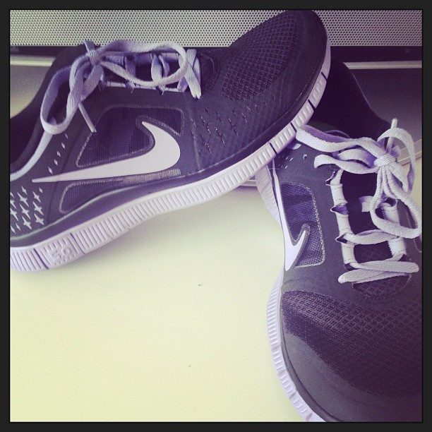 Put my new babies into good use this morning #nikefreerun #getfit 💜
