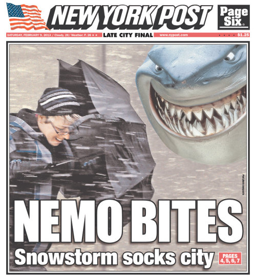 More Blizzard Nemo front pages, here.