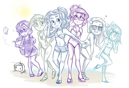 Since summer's approaching, the girls thought they would head to the beach (the guys are coming up next)~ From left to right: Fanfiction, deviantArt, tumblr, Ms.Yahoo!, facebook and twitter. Aaaand me, the creator, buried in the sand down in the bottom left.