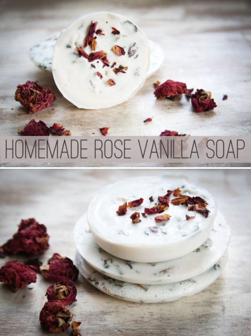 diychristmascrafts:  DIY Rose and Vanilla Soap Recipe and Tutorial from Henry Happened here. I normally don't post lots of soaps because they require too many specialized ingredients, but this recipe is different.