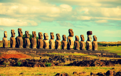 The mysterious Moai statues on Easter Island.