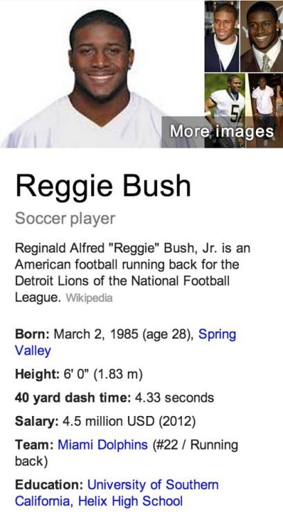 Google Fail. Why is Reggie Bush listed as a soccer player?