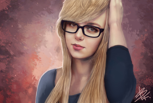 girls in glasses art #245 via bluefireart.deviantart.com