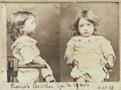 centuriespast:  François Bertillon, 23 months. Crime: Gluttony, nibbling all the pears from a basket Alphonse Bertillon (French, 1853–1914) October 17, 1893. Albumen silver prints MoMA