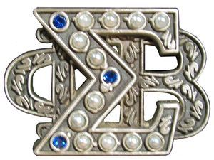 heckyeahgreekbadges:  Phi Beta Sigma The description claimed this is a 'heritage' pin. I think the standard badge the letters are equal size.