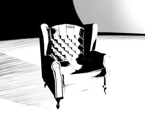 Armchair with the graphic novel shader, now to get the edge detection to work with the current post process. Dreading to think how expensive this is going to be.