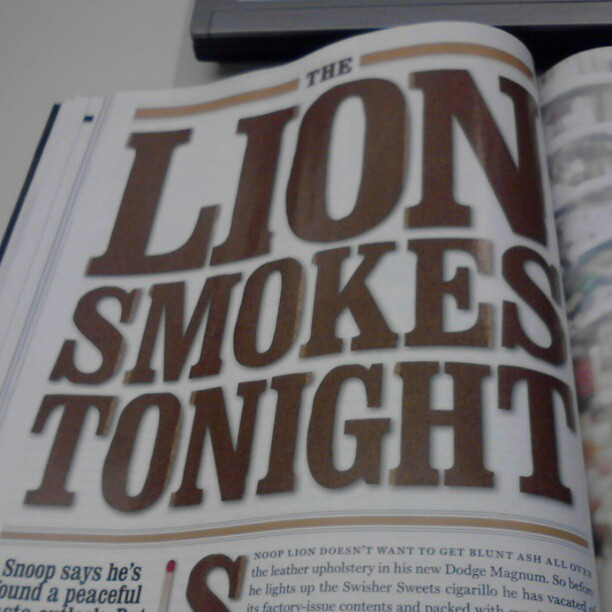Best Rolling Stone headline in a while. Nice story about Snoop Lion (formerly Dogg)