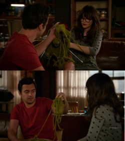Nick is the type of guy who breaks things. Like this thing Jess is knitting for her grandmother.