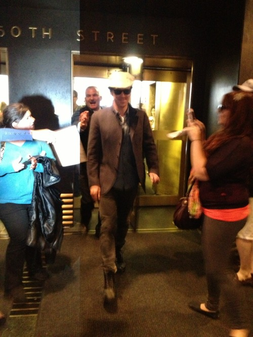cumberbatchcoffeeklatch:  Anyone reminded of that Travolta strut? And remember that guy in the revolving door? #Cumberstrut Source: http://curiouserme.tumblr.com/post/50137815354/so-this-happened-today-im-in-shock-i-need-a