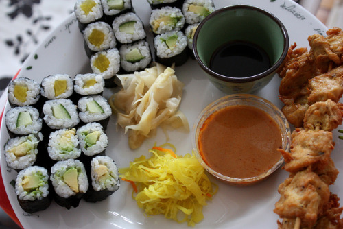 vegan-yums:  and we ordered some sushi. actually, we don't have any money for things like this but jirko is awfully ill today and he wants to eat some thai food. how should i say no?! by Fräulein Piberger on Flickr.