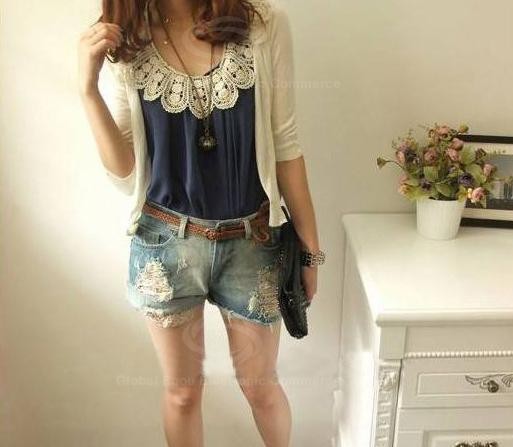 fashion-gallery:  Scoop Neck Sleeveless Mix Match Chiffon Blouse