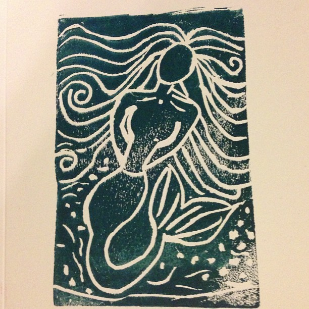 My first block print! Thanks @bkbrains @happygocrafty